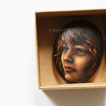 Pebble art: Original girl portrait painting on stone, unique rock art, OOAK