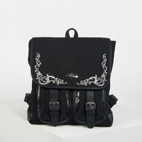 Black Embroidery Double Buckle Strap Canvas Backpack