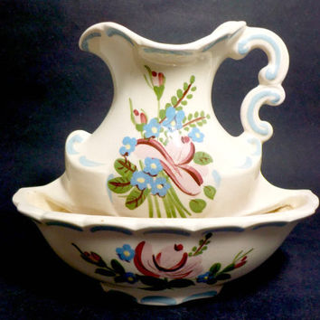 Wall Pocket by California Cleminsons, Hand Painted, Wall Pocket Planter, Pitcher and Bowl Wall Pocket, Cottage Farmhouse Decor, 1950s