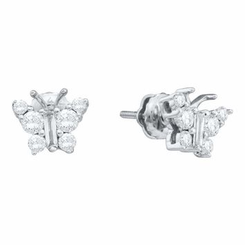 14kt White Gold Women's Baguette Diamond Butterfly Bug Earrings 1-2 Cttw - FREE Shipping (USA/CAN)