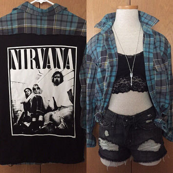 Vintage Nirvana tee and plaid flannel combo shirt mens small/ladies medium