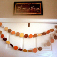 Paper Circle Garland Fall Colors All Occasion Banner Autumn Weddings Bridal Baby Shower Birthdays Thanksgiving Brown Tan Gold Burnt Orange