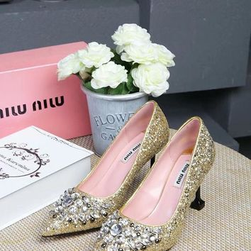 Prada Miu Miu Glitter Pumps With Crystals Gold - Best Deal Online