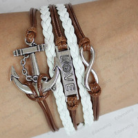 silver love leather bracelets --infinite love bracelets anchor charm bracelets- boyfriend&girlfriend Gift N044