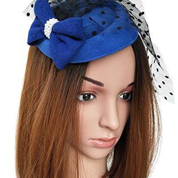 Coolwife Fascinator Hats Pillbox Hat British Bowler Hat Flower Veil Wedding Hat Tea Party Hat