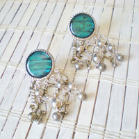Vintage Abalone Chandelier Earrings - Clip On - 1980s - Silver Teal Blue Shell