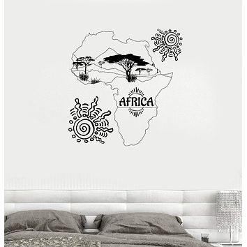 Wall Decal Africa Map Sun Trees Nature Landscape Savannah Mainland Vinyl Sticker Unique Gift (ed623)