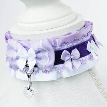Two Tone Lilac and White - Luxury Lacey O ring Durable BDSM Ddlg Pet Kitten Puppy Slave Submissive Play Collar