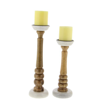 Cole Wood Candle Holder With Marble Base, Set Of 2