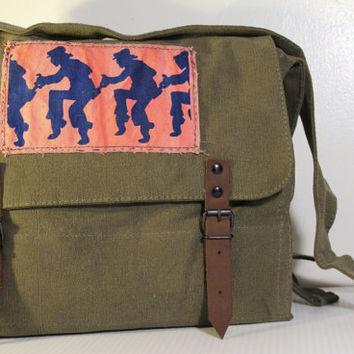 Vintage Olive Drab Canvas Medic Bag with Screenprinted Patch  - Free Shipping