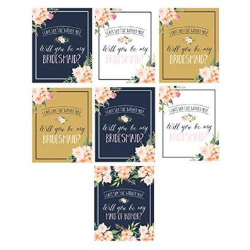 Will You Be My Bridesmaid Stickers or Wine Bottle Labels Bridal Party Maid of Honor Proposal Ideas Ask Your Bridesmaids To Be In Wedding Gifts Gold White amp Navy I Cant Say I Do Without You