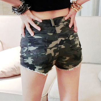 Sexy Club High Rise Shorts Camouflage Slim Pants Summer Jeans [6048815617]