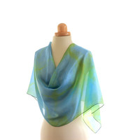 Chartreuse Green and Turquoise Blue Shibori naturally dyed long shawl,  silk scarf dyed with weld and marigold, overdyed with indigo