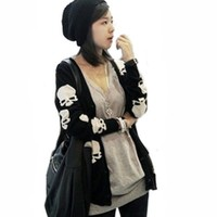 Black Cotton Blend Skull Skeleton Punk Long Sleeve Knitted Cardigan Sweater Tops