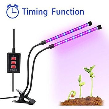 Timing Function Dual head Grow light 36LED 4 Dimmable Levels Grow Lamp Bulbs with Adjustable 360 Degree Gooseneck for Indoor Plants Hydroponics Greenhouse Gardening [2017 Upgraded]