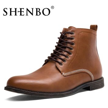 SHENBO Brand Fashion Men Boots, Brown Lace Up Men Chukka Boots, High Quality Men Ankle Boots
