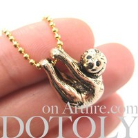 Baby Sloth Realistic Animal Charm Necklace in SHINY Gold
