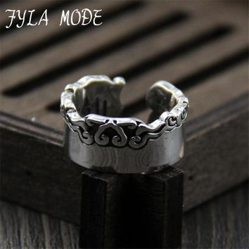 FYLA MODE  925 Sterling Silver Mantra Om Mani Padme Hum Auspicious Clouds Ring  Sterling Silver Jewelry Christmas Gift  XJF033