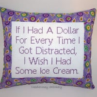 Funny Cross Stitch Pillow, Purple Pillow, Distracted Quote