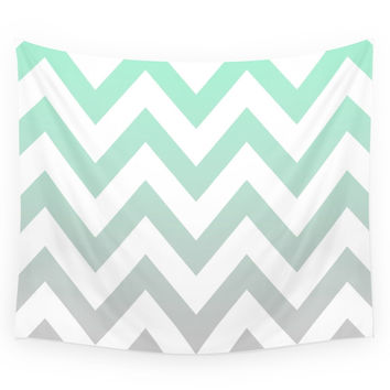 Society6 MINT GRAY CHEVRON FADE Wall Tapestry