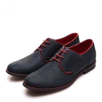 Men Red Piping Dress Shoes Lace-Up Shoes