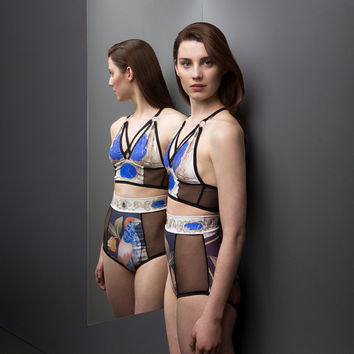 High Waist Panties - Rijksmuseum Collaboration - black mesh and digitally printed spandex
