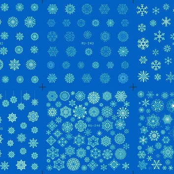 Nail Sticker WATER DECAL BLUE BASE FLOWER CHRISTMAS XMAS WHITE SNOW FLAKE RU242-247