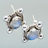 Rainbow Moonstone 925 Sterling Silver Earrings 1/2 @ Jewelry Wonder