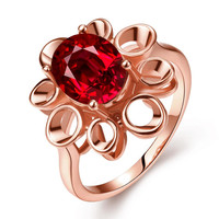 Rose Gold Plated Laser Cut Floral Petal Ruby Red Ring