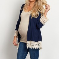 Navy-Blue-Linen-Crochet-Trim-Maternity-Cardigan