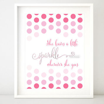 """Silver and pink quote print: """" She leaves a little sparkle wherever she goes """" girly printable art, silver foil and pink ombre print -ffp021"""