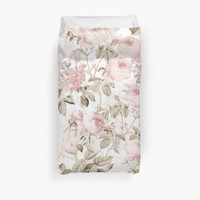 'Sepia Old Vintage Roses on Pink Pattern' Duvet Cover by UtArt