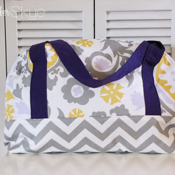 Suzani Yellow, Lavender Purple and Gray Weekender Bag - Overnight Bag - Girl Diaper Bag