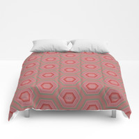 Mint Green and Coral Pink Hexagon Pattern Comforters by Sheila Wenzel