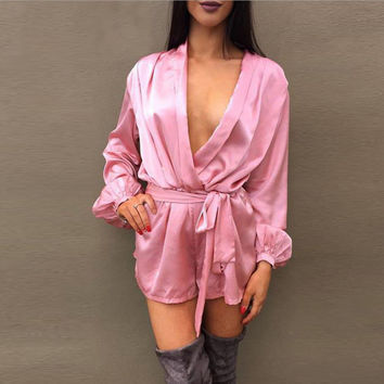 Sexy long-sleeved deep V silk romper