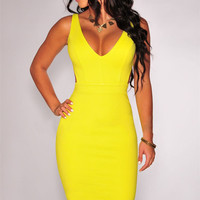 Yellow Deep V-Neck Sleeveless with Cut-Out Back Bodycon Dress