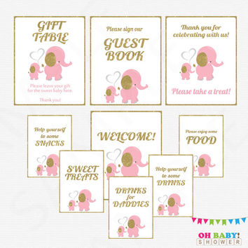 Pink Elephant Baby Shower Table Signs, 9 Pink and Gold Baby Shower Signs, Printable Signs Welcome, Guest Book, Drinks for Daddies EL0004-lpg