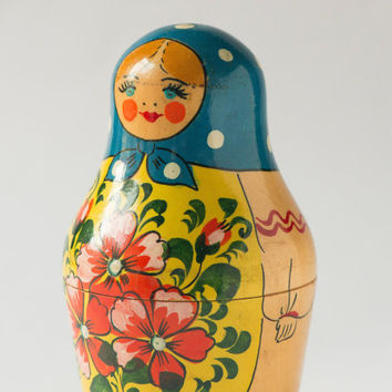 Vintage Matryoshka nesting doll flowers dotts hand painting Soviet Matryoshka yellow red blue wooden doll
