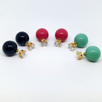 1-1005-h1 Gold Plated Double Ball Earrings with CZ. (Set of 3 Colors)