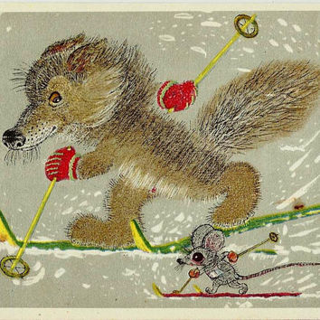 Wolf, Mouse, Vintage Russian Postcard Drawing by Golubev, Happy New Year, Winter Olympics, unused print 1966