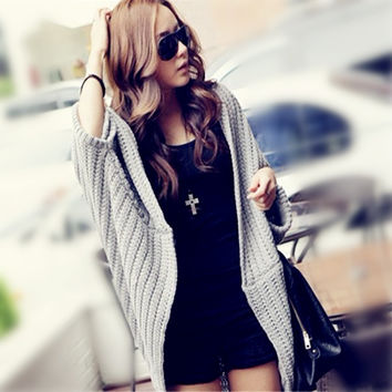New 2015 Autumn and Winter Long Section Bat-sleeve Shawl Loose Knit Sweater Coat = 1945890692