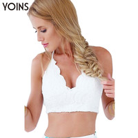 YOINS 2016 Summer Women White Lace Bustier Bra Fashion Floral Frint Crop Top Camis Tank Sexy Deep V-neck Beachwear Bralette