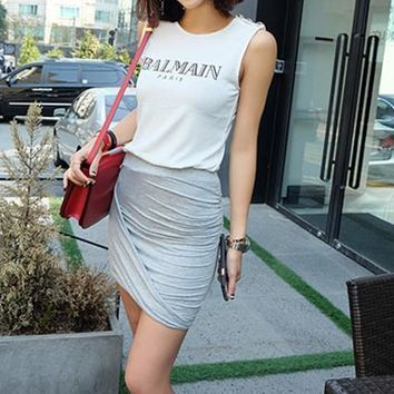 Balmain Women Simple Print Letter Sleeveless Vest Buttons Decoration T-shirt Cotton Tops