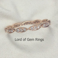 Pave Diamonds Wedding Band  Full Eternity Anniversary Ring 14K Rose Gold - SI/H Diamonds Art Deco Milgrain