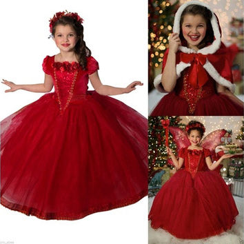 Frozen Kids Girls Dresses Costume Snow White Princess Party Fancy Dress + Cape