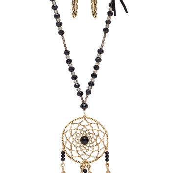 Joya Dreamcatcher Necklace Set - Black