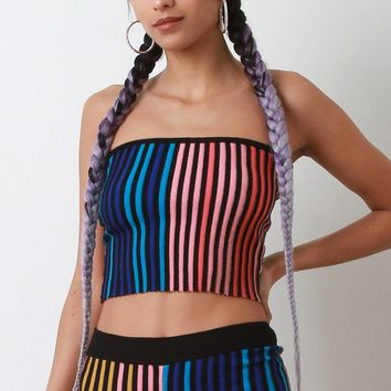 Multi Color Ribbed Knit Tube Top