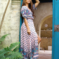 Pink Totem Print Buttoned Maxi Dress with Front Split