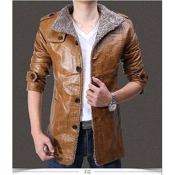 Winter Plus Velvet Leather Jacket Men'S Winter Thick Warm Motorcycle Leather Fur Jacket Casual Windbreaker Leather Coat H3104