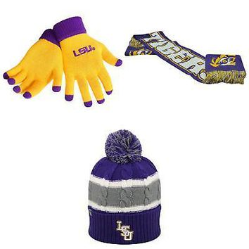Licensed NCAA LSU Tigers Spirit Scarf Windy Beanie Hat And Glove Solid Knit 3Pk 55254 KO_19_1